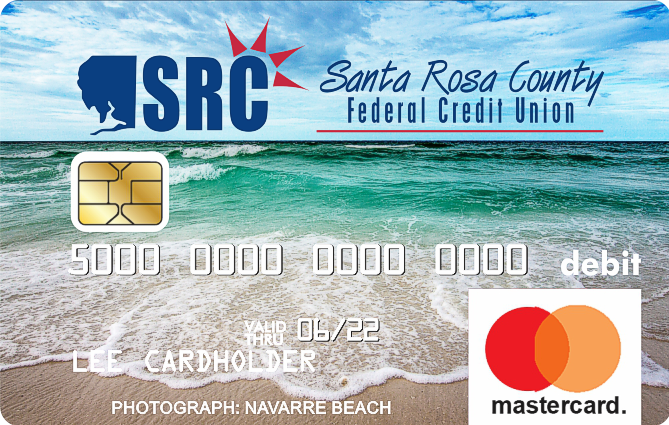 debit card with photo of beach