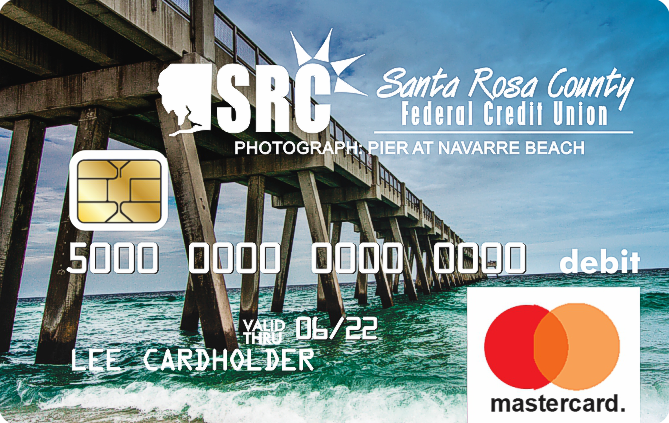 debit card with photo of boardwalk overlooking the ocean